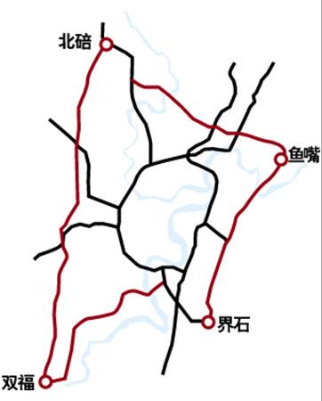 一横线,起于北碚蔡家,经礼嘉,鸳鸯,石坪,终点鱼嘴,全长27.1公里.